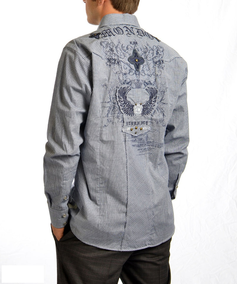 "Blue ""eternity"" Embroidery Long Sleeve Shirt"