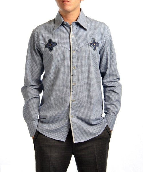 "Blue ""eternity"" Embroidery Shirt"