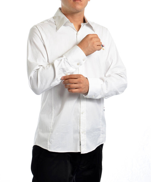 "White ""Life is As Usual"" Embroidery Shirt"