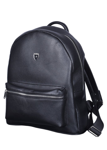 "BLACK ""VITTORIO"" SILVER ZIPPER BACKPACK"