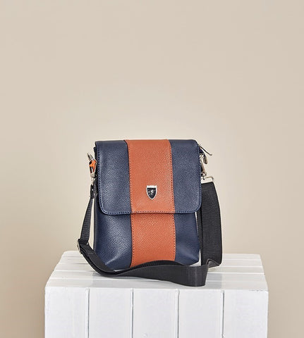 "NAVY BROWN ""NAPOLEONE"" CROSSBODY BAG"