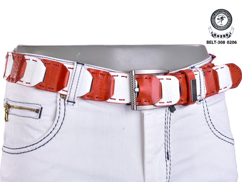 Red White Linked Leather Belt