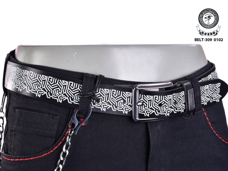 Black on White Print Leather Belt
