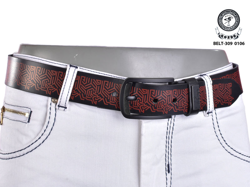 Black on Red Print Leather Belt