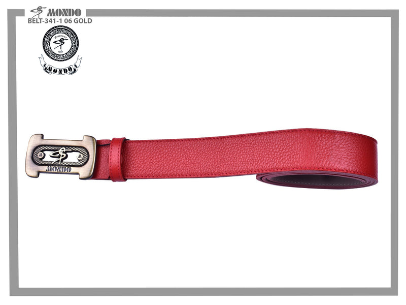 Red with Gold Custom Buckle Leather Belt
