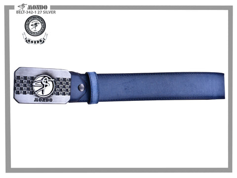 Blue with Silver Custom Buckle Leather Belt