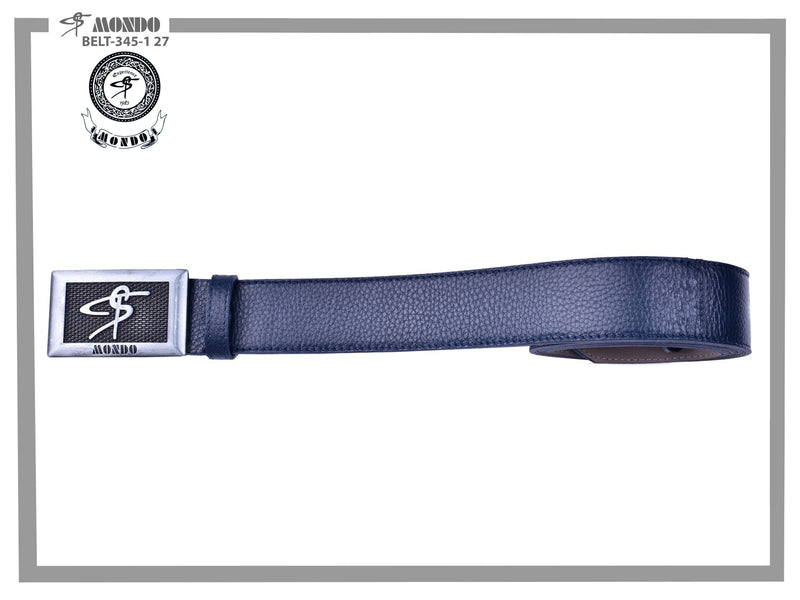 Navy with Silver Custom Buckle Leather Belt