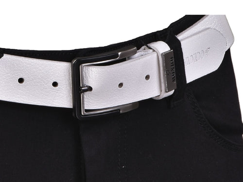 White Peppled Leather Belt