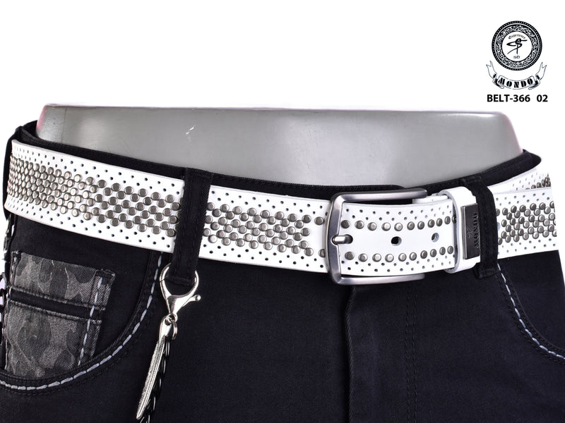 White Silver Studded Belt