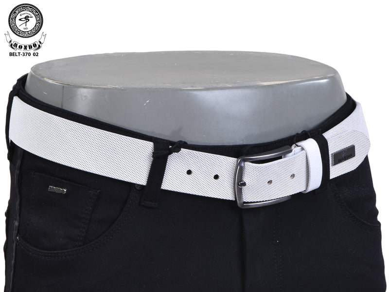 White Saffiano Leather Belt