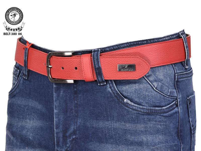 Red Textured Leather Belt