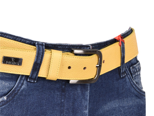 Yellow Textured Leather Belt