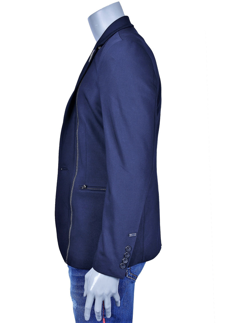 Navy Zipper Fashion Blazer
