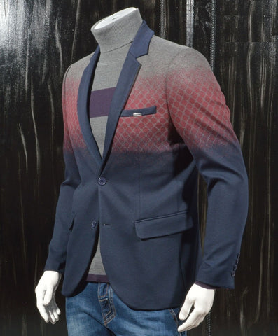 NAVY BURGUNDY DEGRADED BLAZER