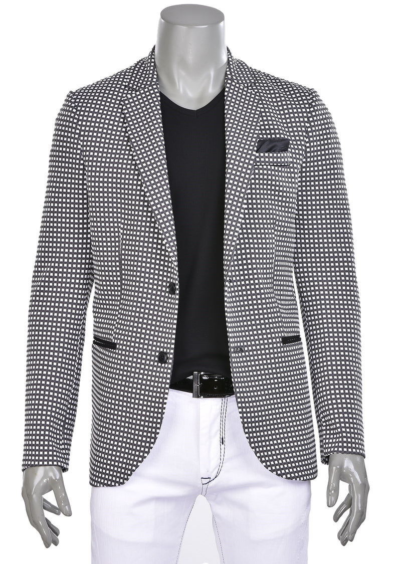 White Gray Casual Knit Blazer