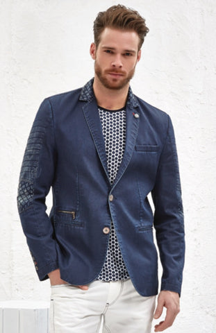 BLUE QUILTED DENIM BLAZER