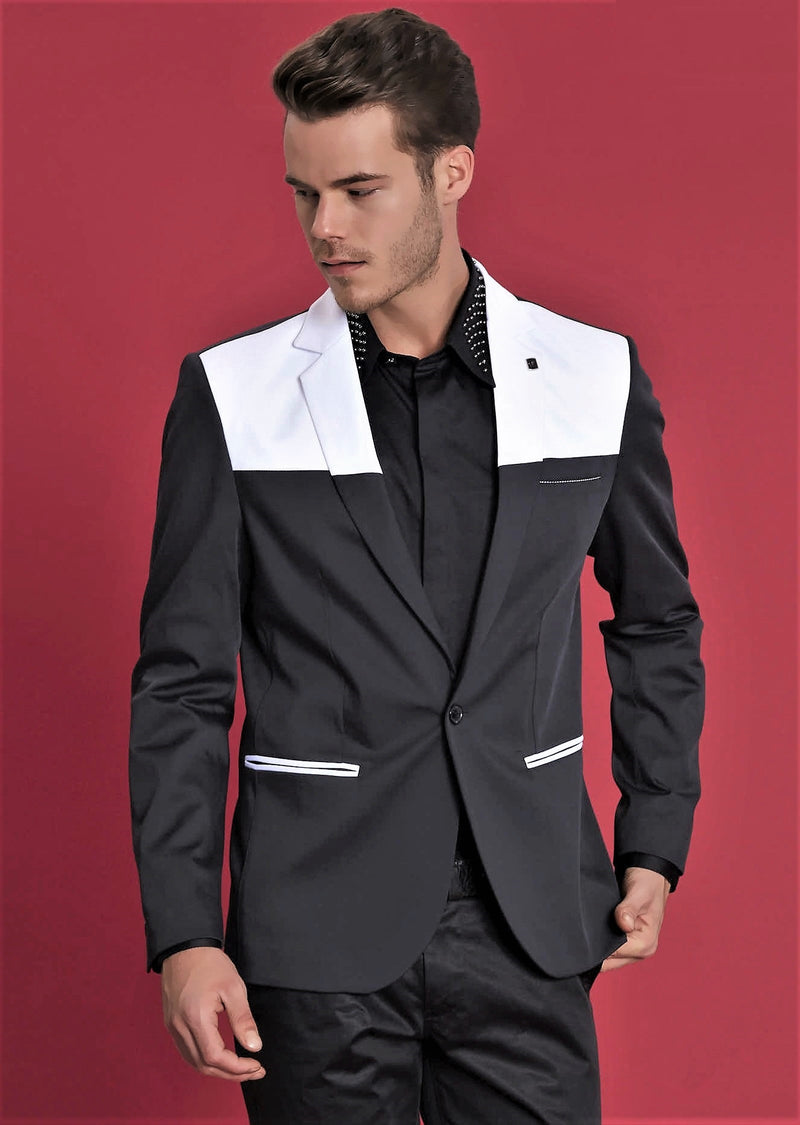 Black White Panel Contrast Fashion Blazer