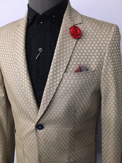 Brown Checker Print Blazer