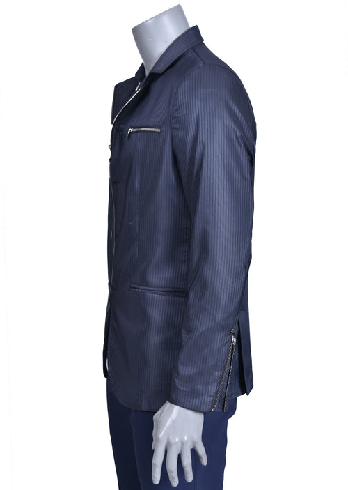 Gray Black Zipper Mandarin Collar Blazer