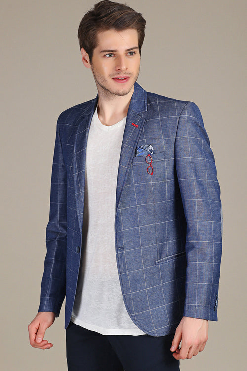 Blue Checker Linen Blazer