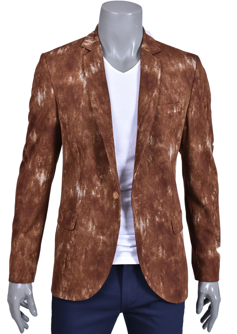 "Brown ""Splash"" Cotton Blazer"