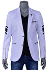 White Black Pu Leather Blazer