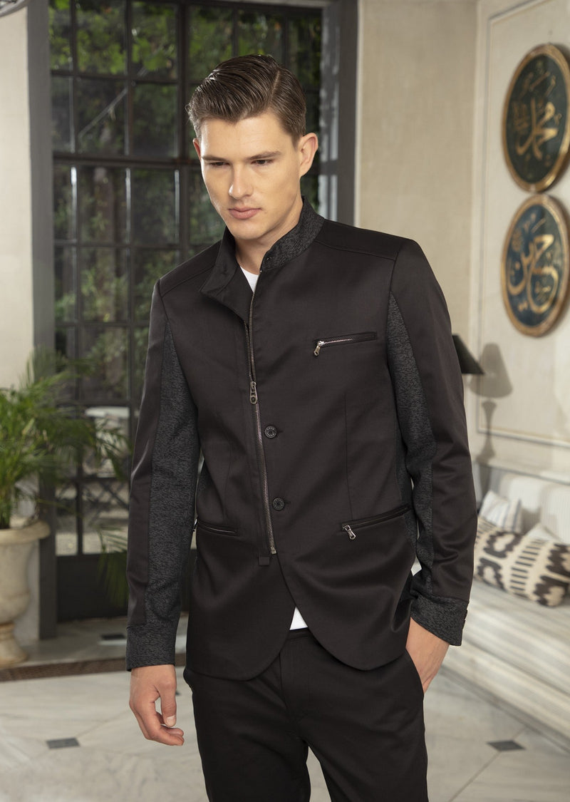 Black Zipper Mandarin Collar Blazer
