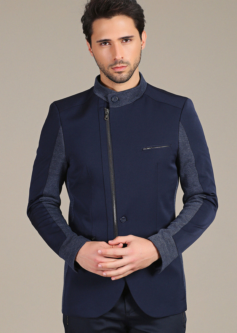 Navy Zipper Mandarin Collar Blazer