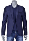 Navy Zipper Quilted Blazer