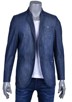 Distressed Indigo Denim Blazer