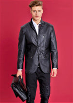 Black Zipper Pu Leather Blazer