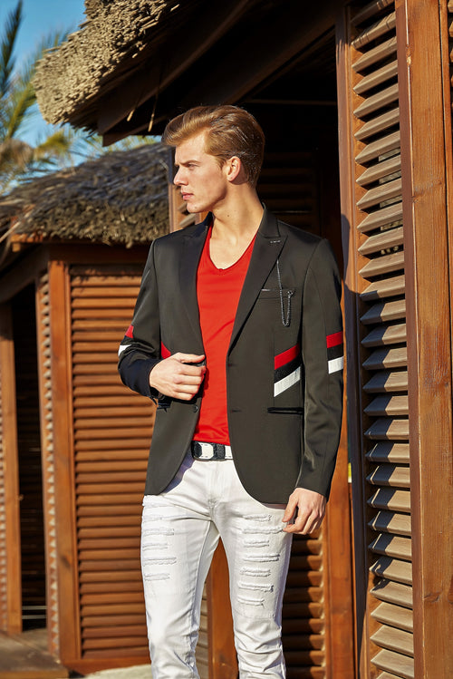 Black Tricolor Block-Striped Blazer