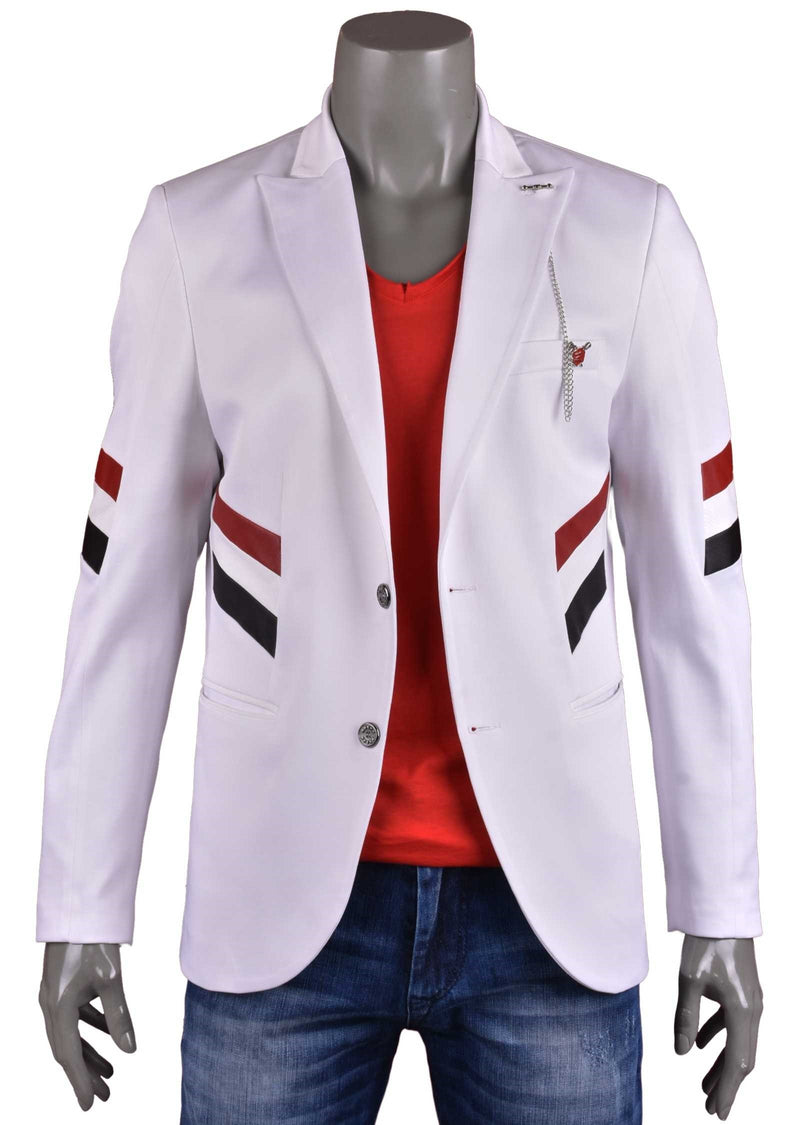 White Tricolor Block-Striped Blazer