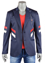 Navy Tricolor Block-Striped Blazer