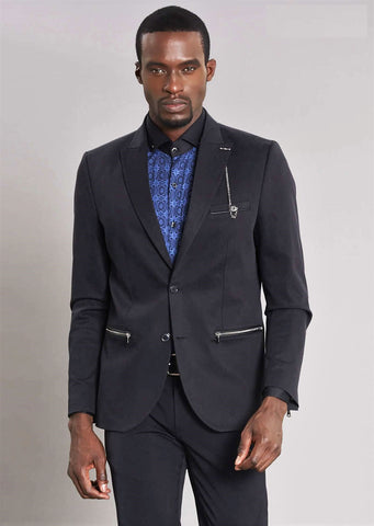 "Black ""Nyc"" Zipper  Blazer"