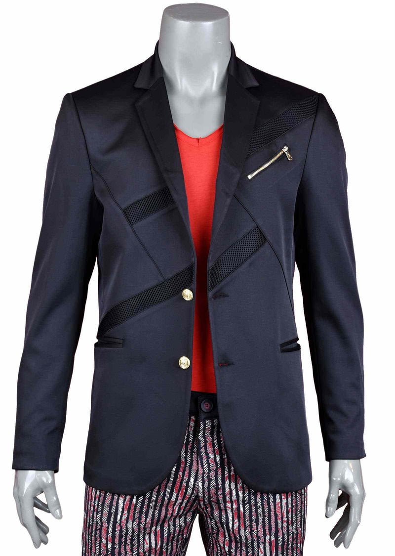 Black Mesh Detailed Zipper Blazer