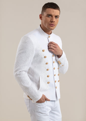 White Gold Button Braided Jacquard Deluxe Jacket
