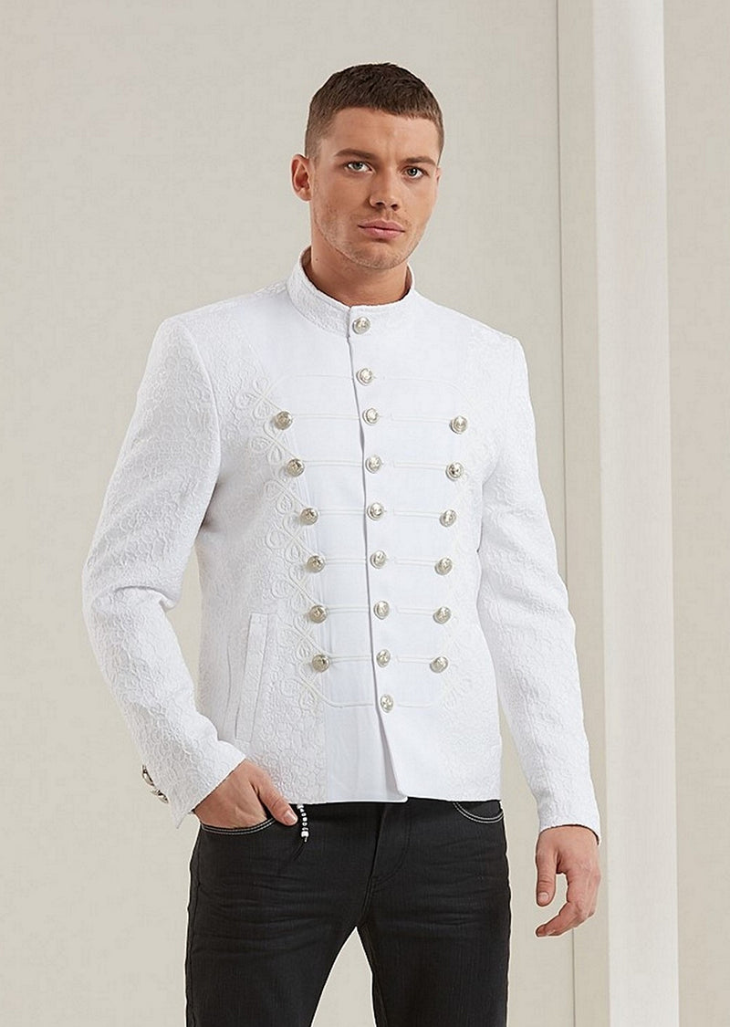 White Silver Braided Jacquard Deluxe Jacket