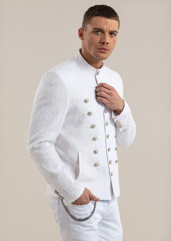White Silver Button Braided Jacquard Deluxe Jacket