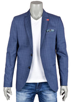 Blue Checkered Casual Blazer