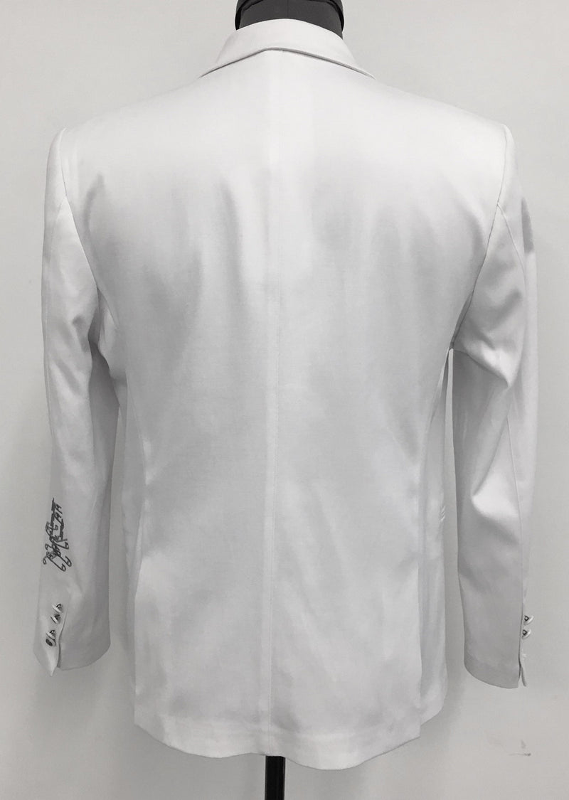 White Chain Embroidery Blazer