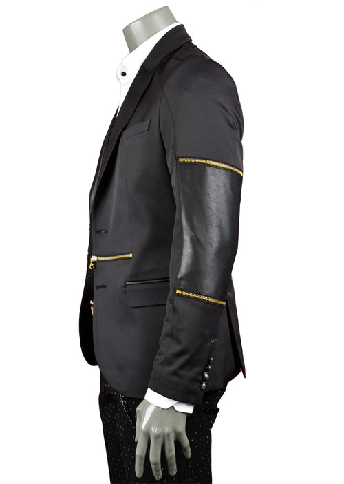Black Gold Zipper Blazer