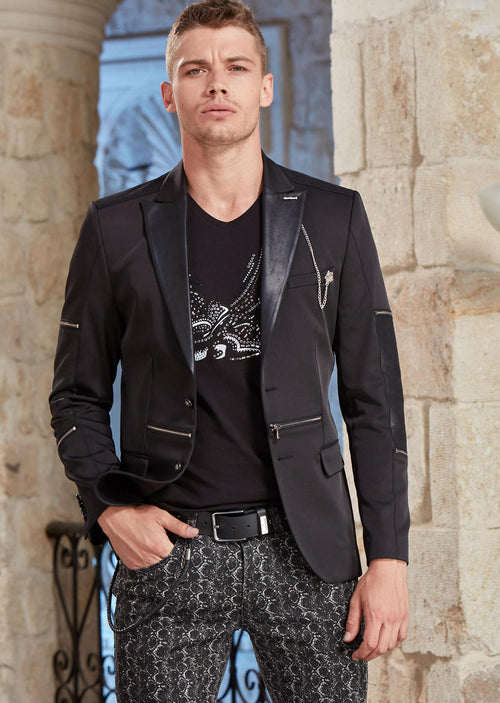 Black Silver Zipper Blazer