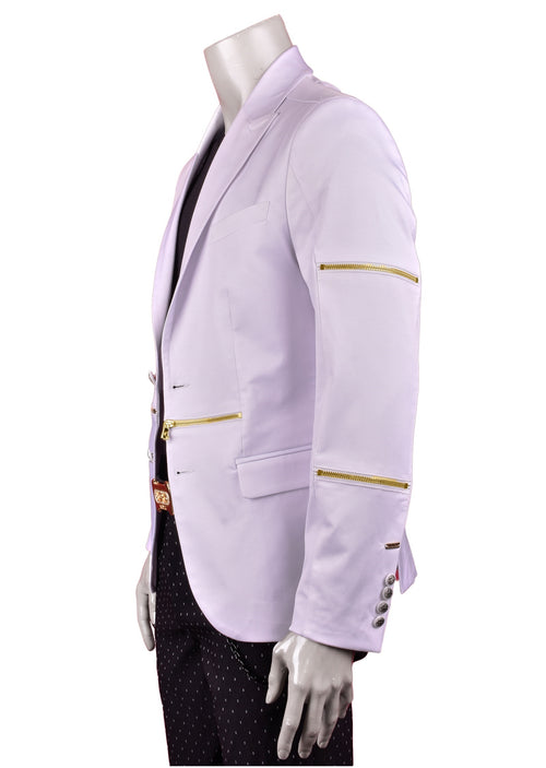 White Gold Zipper Blazer