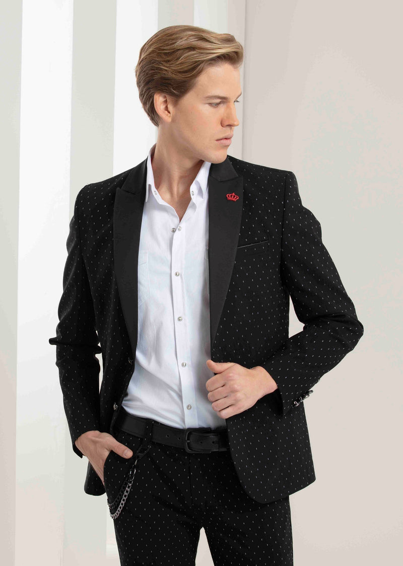 Black Micro Square Stretchy Blazer