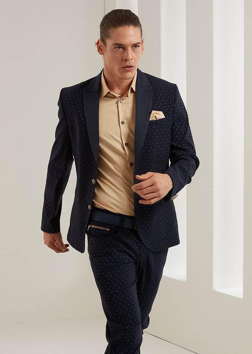 Navy Gold Polka Dot 2-Pieces Suit
