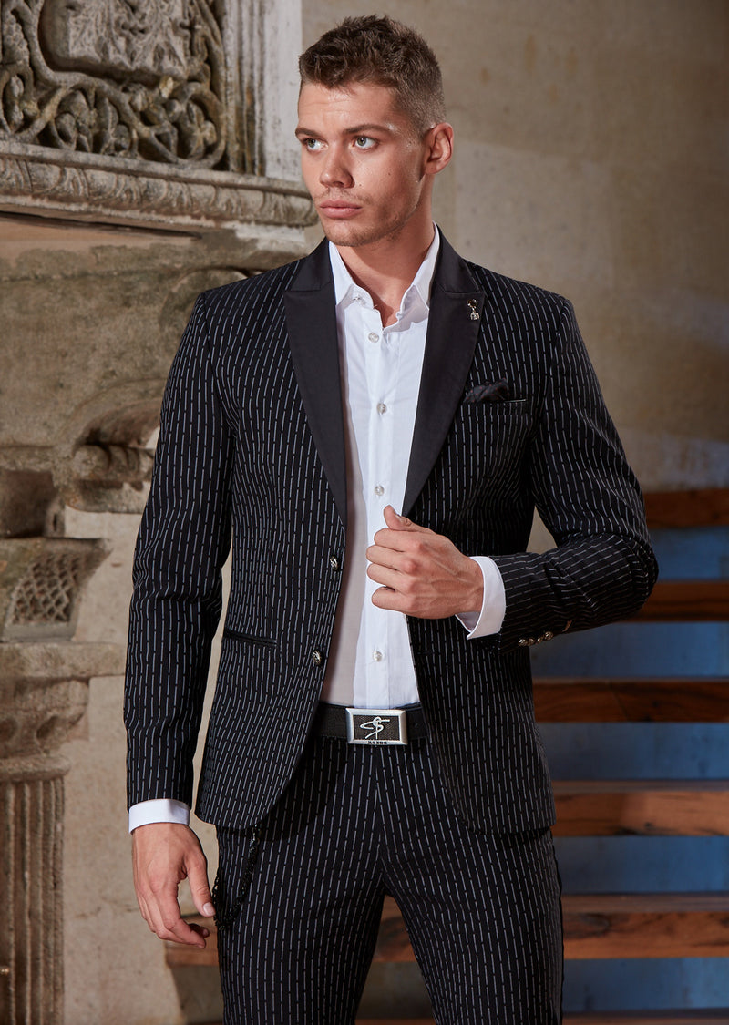 Black Stripe Stretchy 2-Pieces Suit