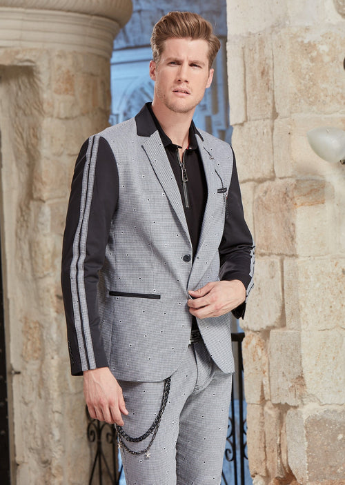 Black Gray Slim-Fit Star Jacquard 2-Pieces Suit