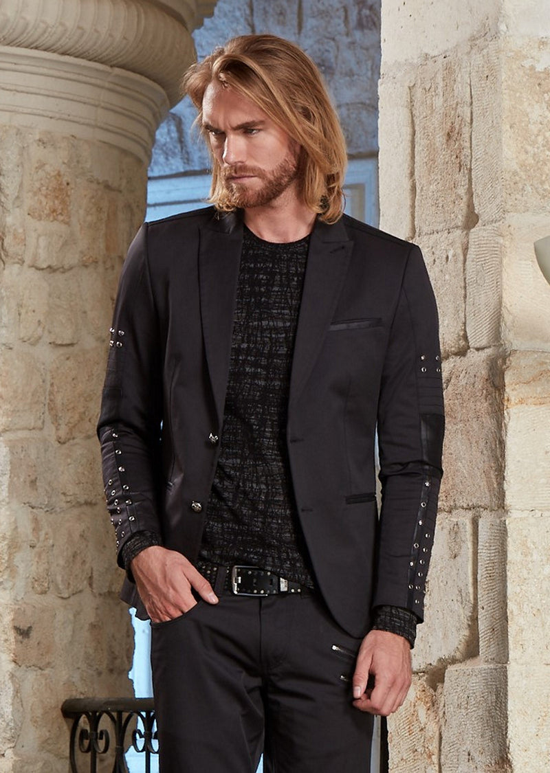 "Black Eyelet Studded ""Limited Edition"" Blazer"