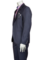 Navy Slim-Fit Jetsetter Jacquard 2-Pieces Suit